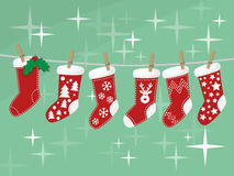Christmas socks hanging on rope  Stock Photography