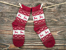 Christmas socks hanging on the wooden Royalty Free Stock Photography