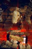 Christmas socks near fireplace Royalty Free Stock Photography