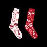 Christmas socks with numbers 2017 New Year.  Vector Illustration