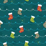 Christmas Socks Pattern Royalty Free Stock Photos