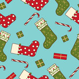Christmas socks present sweet seamless background Royalty Free Stock Photo