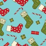 Christmas socks present sweet seamless background Royalty Free Stock Photo