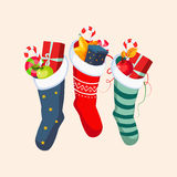 Christmas Socks with Presents. Vector Illustration Royalty Free Stock Image