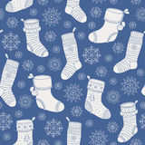 Christmas socks seamless pattern Stock Photo