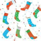 Christmas socks seamless pattern, funny design Stock Image