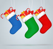 Christmas socks. Set of festive decorations with presents Stock Images