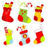 Christmas socks. Set of New year gift stokings. Vector stickers, icons, clip art for seasonal design stock illustration