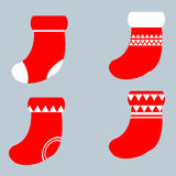 Christmas socks set vector illustration Stock Photos