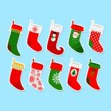 Christmas socks stickers Royalty Free Stock Photography