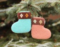 Christmas  socks. On christmas tree Royalty Free Stock Photos