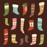 Christmas socks vector Santa Xmas New Year gift traditional Christians symbol sey illustration different textile design Royalty Free Stock Images