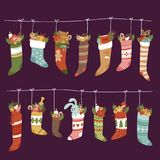 Christmas socks vector Santa Xmas New Year gift traditional Christians symbol sey illustration different textile design Stock Photos