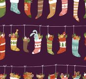 Christmas socks vector Santa Xmas New Year gift traditional Christians symbol illustration different textile design Royalty Free Stock Photography