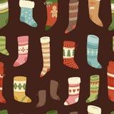 Christmas socks vector Santa Xmas New Year gift traditional Christians symbol sey illustration different textile design Stock Photography