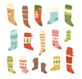 Christmas socks vector Santa Xmas New Year gift traditional. Christians symbol sey illustration different textile design food clothes. Socks christamas Stock Images