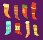 Christmas socks vector Santa Xmas New Year gift traditional Christians symbol sey illustration different textile design. Food clothes. Socks christamas Royalty Free Stock Photography