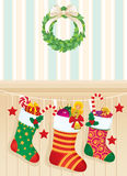 Christmas Socks With Gifts Royalty Free Stock Photos