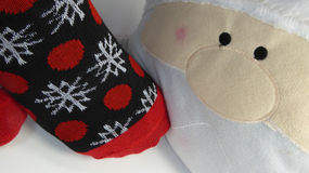 Christmas socks with red polka dots and white snowflakes Royalty Free Stock Images