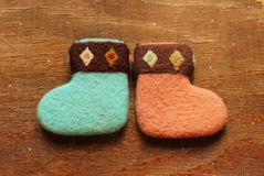 Christmas  socks. On wood backgroundn Royalty Free Stock Photography