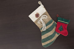 Christmas socks. On the wooden background Royalty Free Stock Image