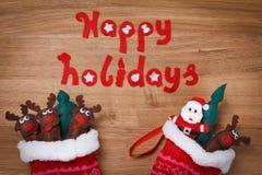 Christmas, Socks. Xmas snow Decoration, Santa and deers. Stock Photos