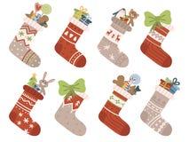 Christmas socks. Xmas stocking or sock with snowflakes, snowman and Santa. Deer and Santas helpers elves on stockings stock illustration