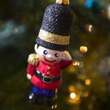 Christmas soldier decoration hanging from a tree Royalty Free Stock Image