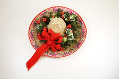 Christmas Sombrero 2. A sombrero decorated with dried and silk flowers for Christmas Royalty Free Stock Photos