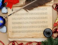 Christmas song. Old book ready for Christmas song Royalty Free Stock Photos