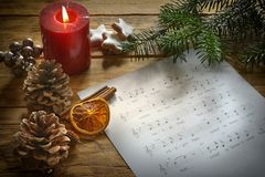 Christmas song with Deko. Christmas song with text and christmas decoration royalty free stock photography