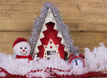 Christmas song with a snowman, house and an alarm clock. Royalty Free Stock Photos