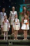 Christmas songs. DNEPROPETROVSK, UKRAINE - JANUARY 24: Unidentified Children, ages 9-15 years Royalty Free Stock Image