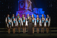 Christmas songs. DNEPROPETROVSK, UKRAINE - JANUARY 24: Unidentified Children, ages 9-15 years Royalty Free Stock Photo