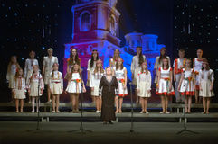 Christmas songs. DNEPROPETROVSK, UKRAINE - JANUARY 24: Unidentified Children, ages 9-15 years Stock Photography