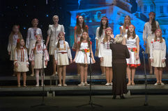 Christmas songs. DNEPROPETROVSK, UKRAINE - JANUARY 24: Unidentified Children, ages 9-15 years Stock Photos