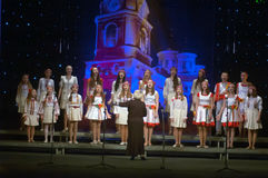 Christmas songs. DNEPROPETROVSK, UKRAINE - JANUARY 24: Unidentified Children, ages 9-15 years Royalty Free Stock Photography