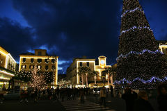 Christmas in sorrento. The high christmas tree in the main square of sorrento in italy Stock Image