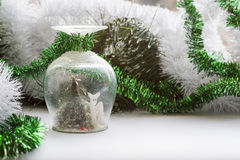 Christmas souvenir on background holiday decoration Royalty Free Stock Photo