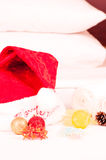 Christmas spa break with bath salt on a bed Royalty Free Stock Image