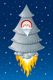 Christmas in space. Cartooned Santa Claus in a space rocket vector illustration