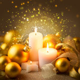 Christmas Sparkle Candles Decoration with Baubles Royalty Free Stock Images