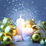 Christmas Sparkle Candles Decoration with Glitter and Baubles Royalty Free Stock Images