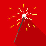 Christmas Sparkler in Flat Style with Long Shadows. Christmas Sparkle in Flat Style with Long Shadows on a Red Background Royalty Free Stock Photography
