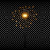 Christmas sparkler. Realistic golden bengal light. Holiday glowing sparkling firework. Vector. vector illustration