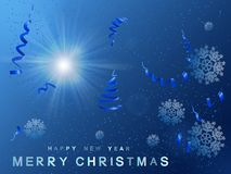 Christmas background blue sparkling  with sun star. Royalty Free Stock Photo