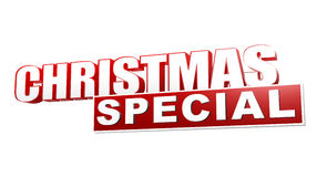 Christmas special in 3d red letters and block. Over white background, business holiday concept Stock Image