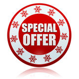 Christmas special offer on red circle banner with snowflakes symbols. Christmas special offer - 3d red circle banner with white text and snowflakes symbols royalty free stock photo