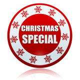 Christmas special red circle banner with snowflakes symbol Stock Images