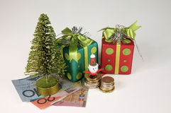 Christmas, spending money. Christmas time spending with Australia currency Stock Photography